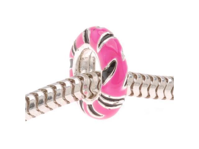 Silver Plated Large Hole Zebra Stripe Bead W/ Pink Enamel - Fits European Style