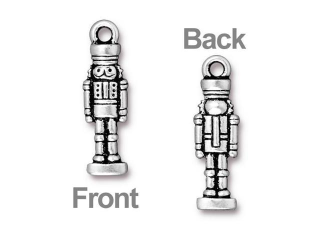 Antiqued Silver Plated Lead-Free Pewter Nutcracker Charm 27mm (1)