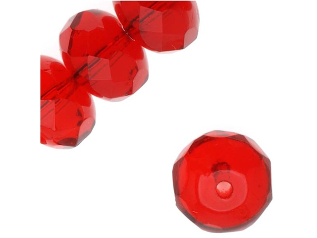 Czech Fire Polished Glass - Rondelle Beads 8.5x5.5mm 'Siam Ruby' (12)