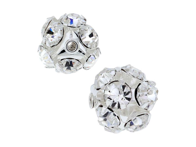 Beadelle Crystal 12mm Rhinestone Ball - Silver Plated / Crystal (2 Beads)