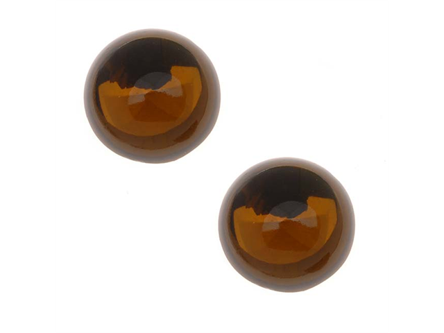Glass Cabochons - 18mm Round - 'Smoked Topaz' Foiled (2 Pieces)