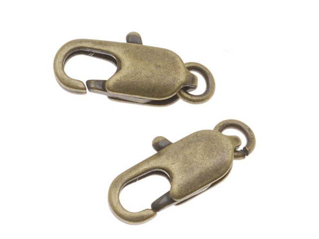 Antiqued Brass Sleek Lobster Claw Clasps - 12mm (10)