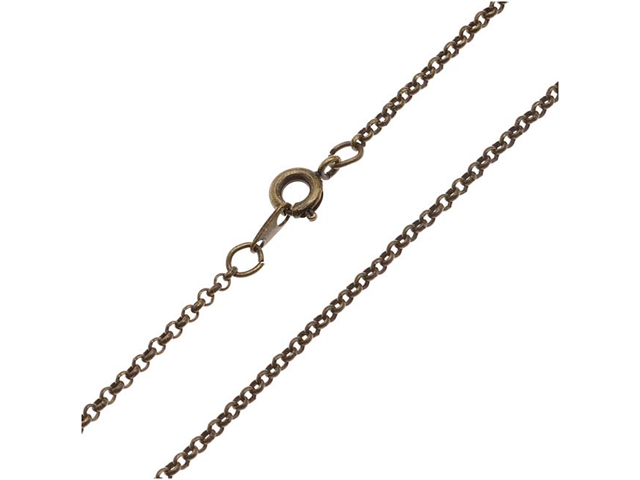 Antiqued Brass Fine Rolo Chain Necklace - 2mm Diameter Links 18 Inches Long