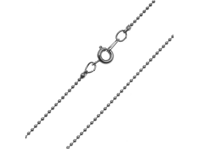 Gun Metal Plated 1.2mm Ball Chain Necklace With Clasp - 16 Inches