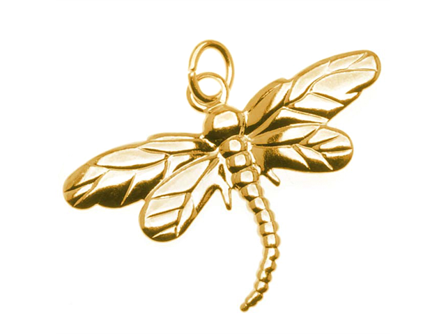 22K Gold Plated Dragonfly Charm With Ring - 26x18.5mm (6)