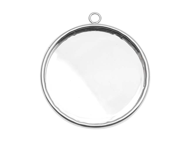 Silver Plated Large Round Bezel Pendant - 30.5mm Diameter (1)