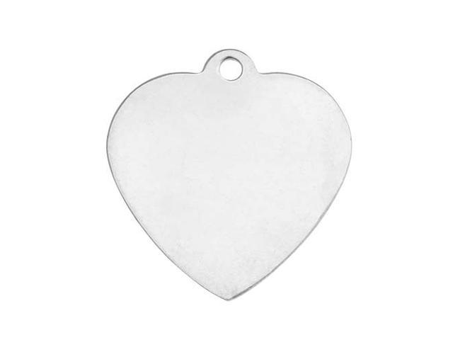 Sterling Silver Stamping Blank, Heart With Loop 27mm, 1 Piece, Silver