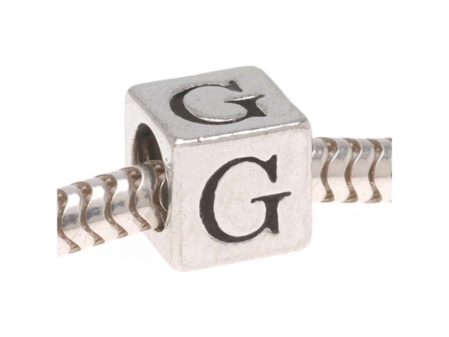 Lead-Free Pewter European Style Large Hole Alphabet Bead, Letter 'G' 6.4mm, 1 Pc