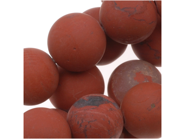 Matte Dark Red Jasper Round Gemstone Beads 8mm (15.5 Inch Strand)