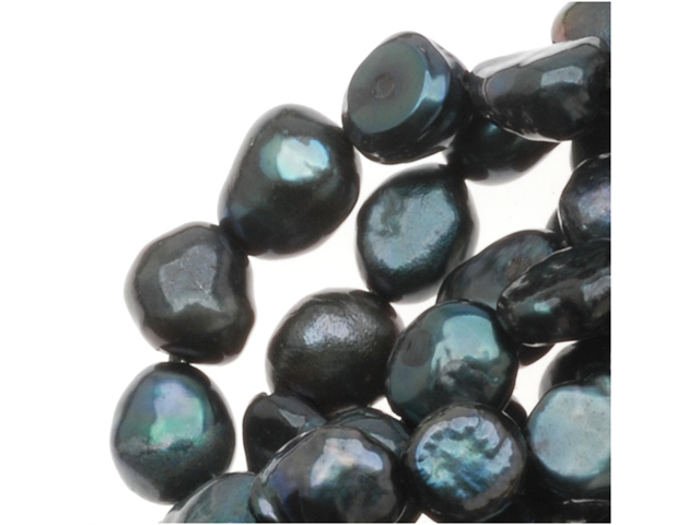 Dark Teal Green Cultured Nugget Pearls 4-8mm (16 Inch Strand)