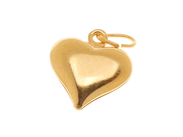 22K Gold Plated Puff Heart Charms 12.5mm (6)