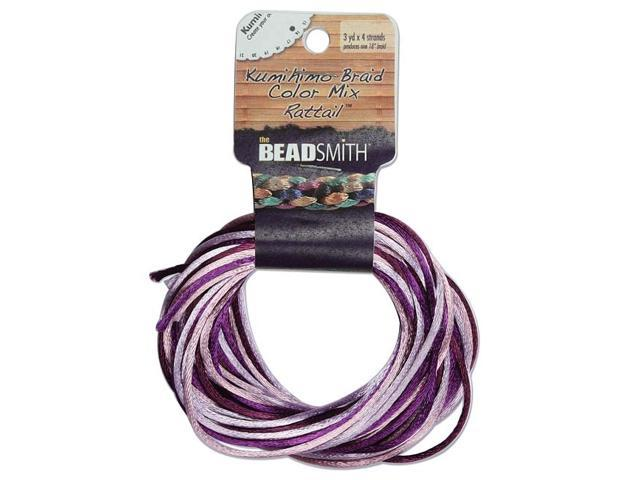 Satin Rattail Cord 1mm Lilac Purple Mix 4 Color 3 Yd Ea