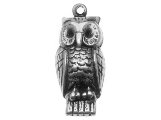 Antiqued Silver Plated Owl Charm Stamping 22.5x9.5mm (4)