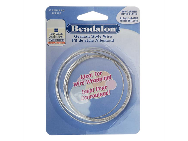 Silver Plated Fancy Square German Style Craft Wire 20 Gauge/.032 In. (2 Meters)