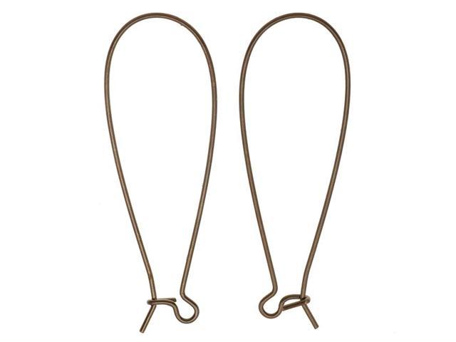 Vintaj Natural Brass Long Arched Ear Wire 45mm  (1 Pair)
