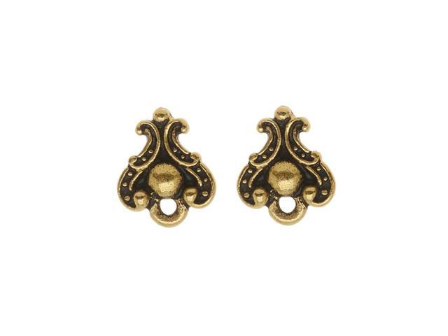 22K Gold Plated Pewter Stud Post Earrings Duchess 10.7mm