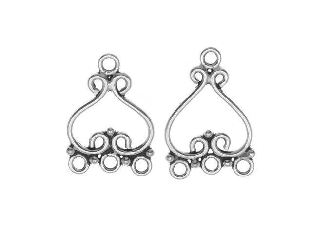 Bali Silver Scroll Chandelier Earrings Parts 21mm (1 Pair)
