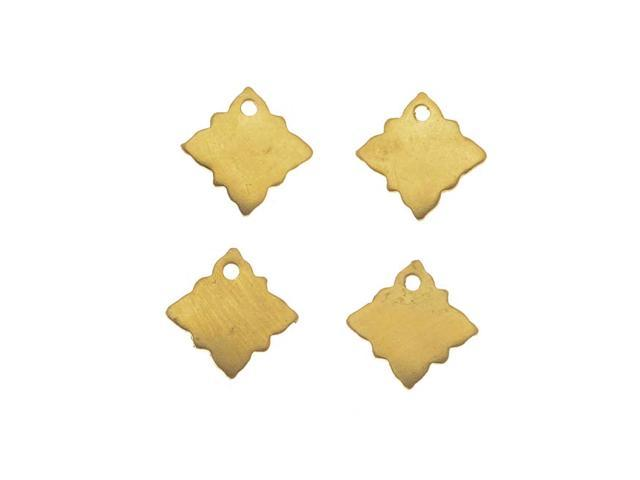 Solid Brass Blank Ornate Tilted Square Charms 9mm  (4)
