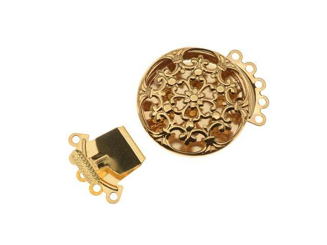 Gold Tone Filigree 5 Strand Round Box Clasp 22mm  (2)