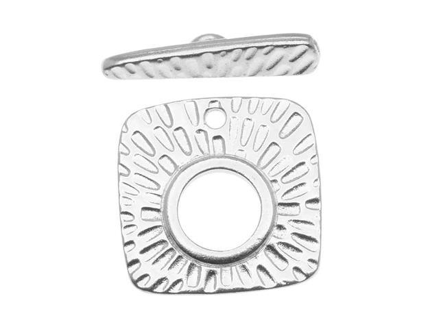 Rhodium Plated Pewter Textured Radiant Toggle Clasp 22mm (1)