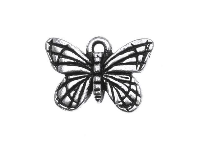 Fine Silver Plated Pewter Monarch Butterfly Charm 16mm (1)