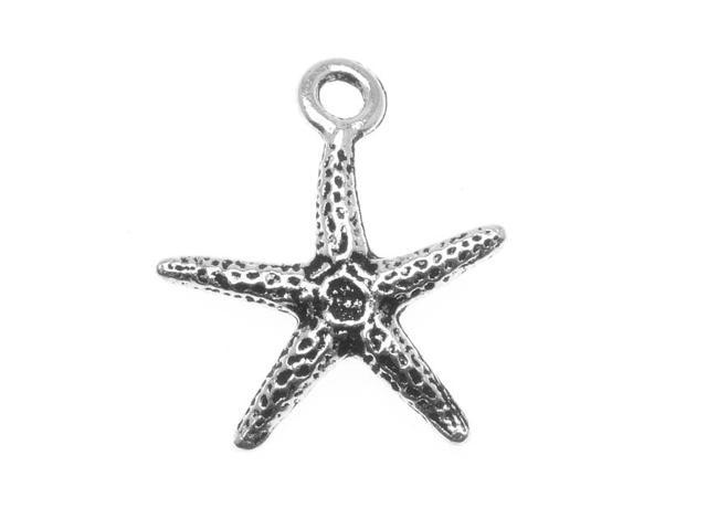 Fine Silver Plated Pewter 2-Side Starfish Charm 18mm (1)