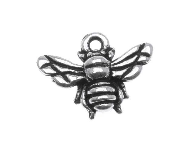 Fine Silver Plated Pewter Honey Bee Charm 11.7mm (1)
