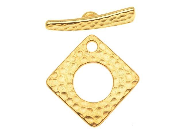 22K Gold Plated Pewter Hammertone Square Toggle Clasp 23mm (1)