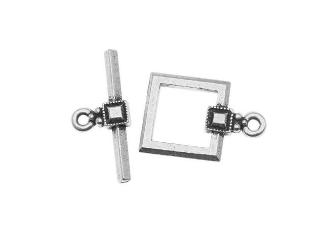 Silver Plated Pewter Deco Square Toggle Clasp 12.5mm (1)
