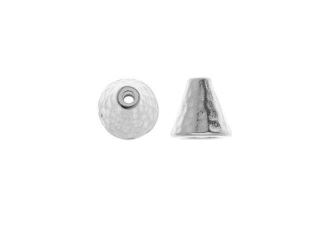 Real Rhodium Plated Pewter Hammered Cone Bead Caps 8mm (2)