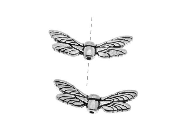 Fine Silver Plated Pewter Dragonfly Wing Beads 20mm (2)