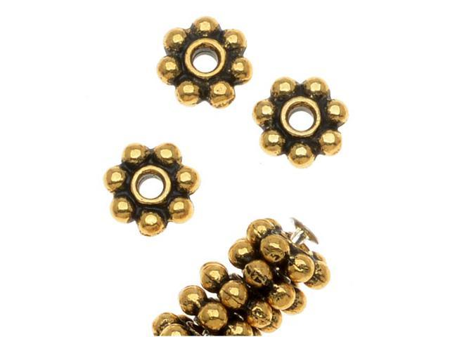 22K Gold Plated Pewter Daisy Spacer Beads 5mm (50)