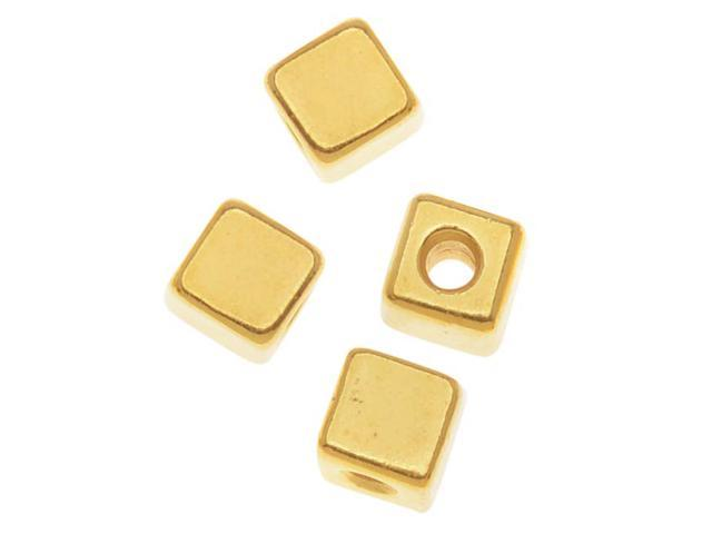 Real 22K Gold Plated Pewter Square Cube Beads 4mm (8)