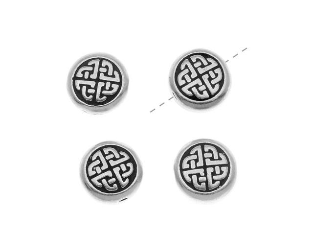 Fine Silver Plated Pewter Round Celtic Knot Beads 10mm (4)