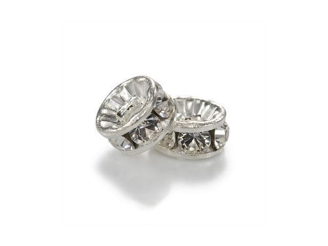 Swarovski Crystal, #9001 Rondelle Beads 5x2.5mm, 2 Pcs, Rhodium Plate w/ Crystal