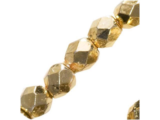 Czech Fire Polished Glass Beads 3mm Round Metalic Gold/50