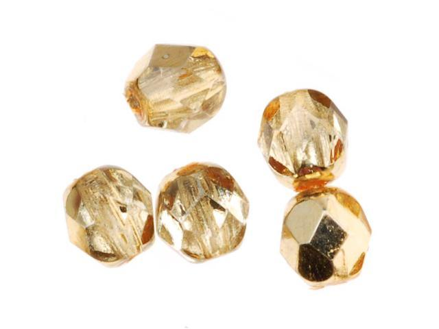 Czech Fire Polished Glass Beads 6mm Round 'Crystal Gold' (25 Pieces)