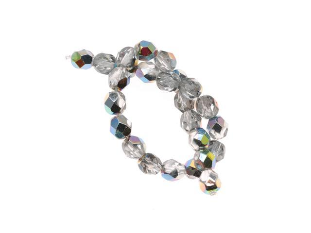 Czech Fire Polished Glass Beads 6mm Round 'Crystal Vitrail' (25)
