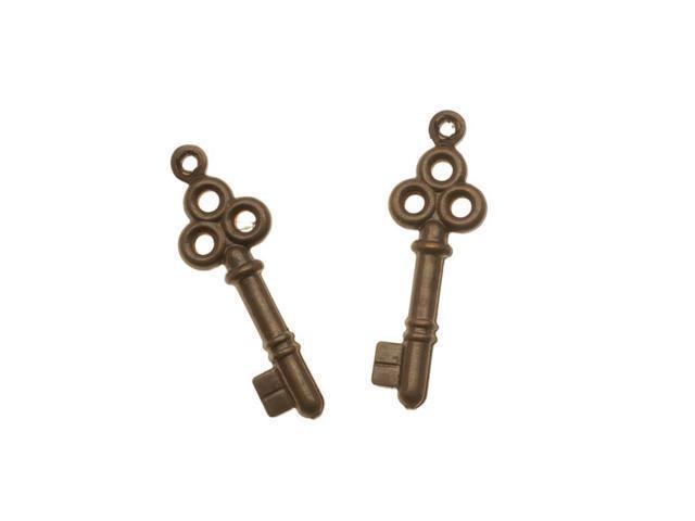Vintaj  Natural Brass 2 Sided Key Charm Beads 24mm (2)