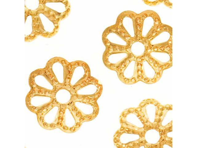 22K Gold Plated Delicate Flower Bead Caps 6mm X50
