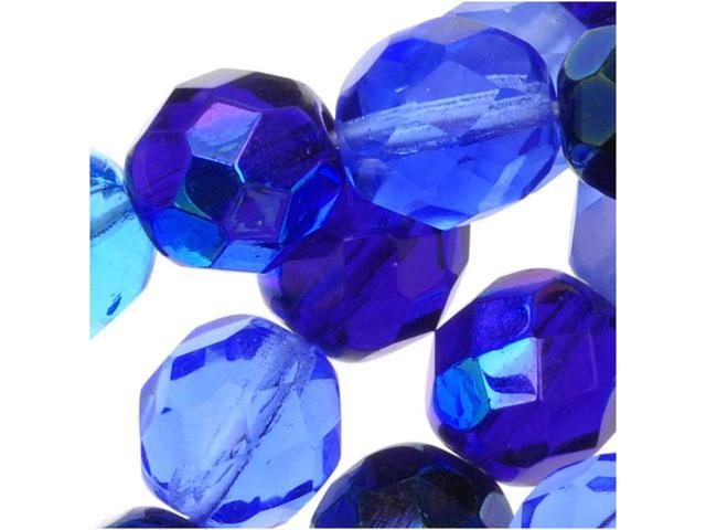 Czech Fire Polished Glass Beads 8mm Round 'Blue Tones Mix' (50)