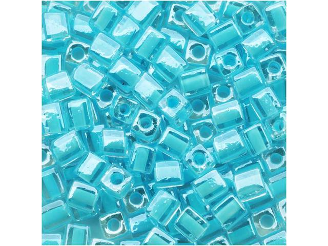 Miyuki 4mm Cube Beads Ice Blue Lined Crystal #220 10 Gr