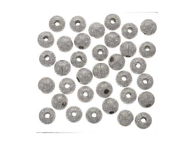 Silver Plated Stardust Sparkle Round Beads 5mm (50)