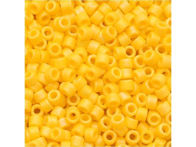 Miyuki Delica Seed Beads 11/0 Matte Opaque Canary AB Yellow DB1592 7.2 Grams