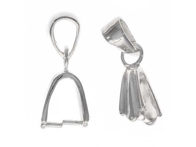 Sterling Silver Swinging 2-Part Pinch Bail For Pendant (1 Piece)