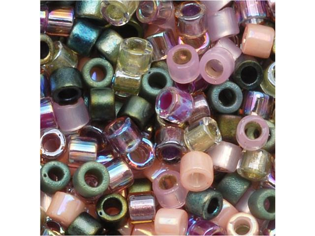 Delica Seed Bead Mix 10/0 Lavender Garden Pink Green 8G