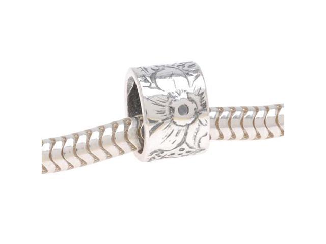 Sterling Silver European Style Large Hole Bead, Subtle Embossed Flower 8mm, 1 Pc