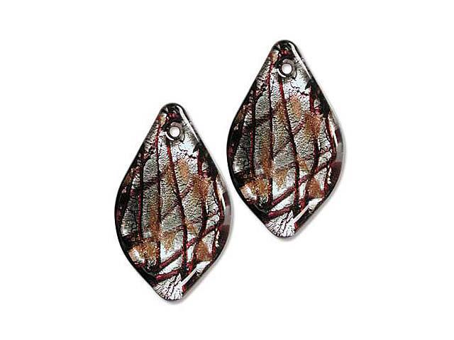 Lampwork Glass Silver Foil Black Red Sm Leaf Pendants-2
