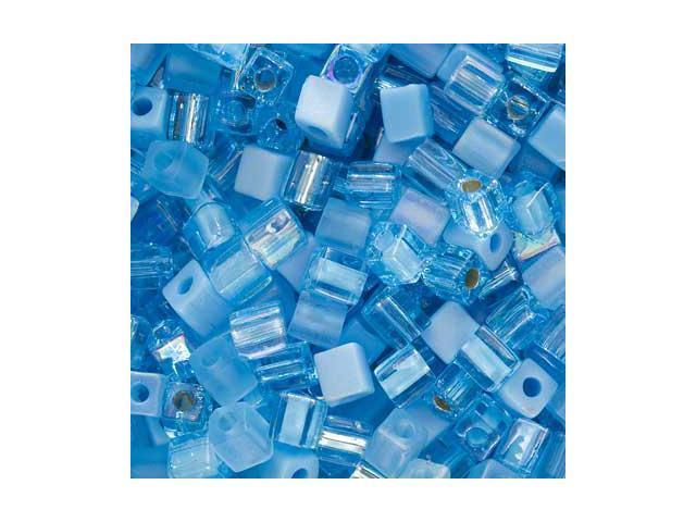 Miyuki 4mm Square Cube Bead Mix Aqua Medley 10Gr