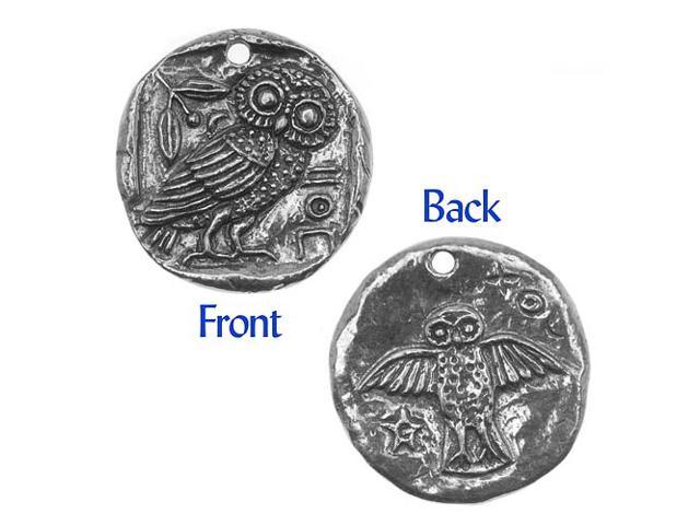 Green Girl Studios Coin Pendant, 26mm Owl, 1 Piece, Pewter